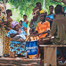 Village du Togo en fête by Jonguy Demontigny - Painting All Painting