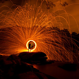 Spinning the Wool by Phillip Campbell - Abstract Light Painting ( spin, sparks, painting, light, wool, fire,  )