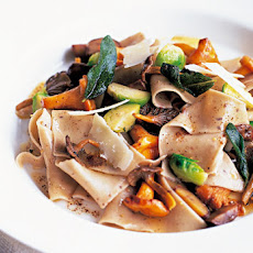 Pasta Rags with Wild Mushrooms and Brussels Sprouts Recipe