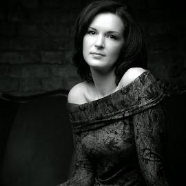 Nastya by Maxim Malevich - People Portraits of Women ( girl, low key, black and white, sad, woman, dark, black, portrait,  )