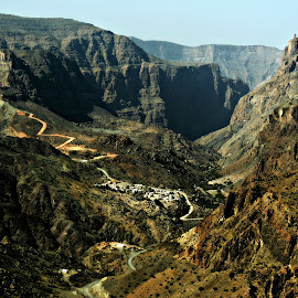 Crossing Oman's 'Grand Canyon' by Tamsin Carlisle - Landscapes Mountains & Hills ( cliffs, ravine, oman, canyon, travel, road, valley, plateau, vista, switchbacks, crags, deep, saiq )