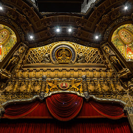 Oriental Theater stage by Fred Faulkner - Buildings & Architecture Architectural Detail ( theater, architecture, chicago, velvet, stage, curtain, oriental theater )