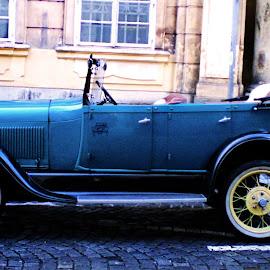 Old car Prague by Claudiu Petrisor - Transportation Automobiles ( car, old car, blue, prague, street photography )