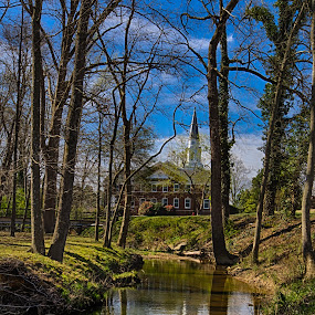 Stream Reflections by RomanDA Photography - Landscapes Waterscapes ( water, reflection, university, church, college, trees, pfeiffer, spring )