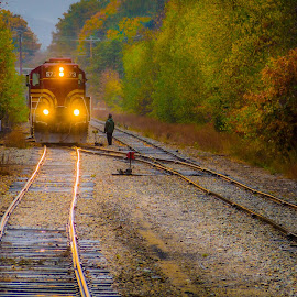 Switching Tracks by Ed Esposito - Transportation Trains ( lights, autumn, train, tracks, switching )
