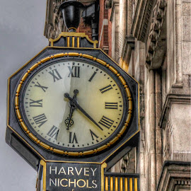 Harvey Nichols, London by Christine May - City,  Street & Park  Neighborhoods ( time, timepiece, department store, posh, london, store, clock, time piece, architecture, photography, object )