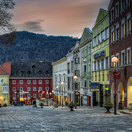 Kufstein by Paul Zeinert - City,  Street & Park  Markets & Shops ( mountain, sunset, street, rock, night, kufstein, austria, city )