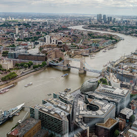 View From The Shard by Akar Necati - City,  Street & Park  Skylines ( view from the shard, the shard, thames, london, tower bridge, london skyline, river )