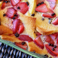 Strawberry- Chocolate Chip Bread Pudding