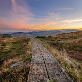 The path to the misty mountains. by Piotr Dominiak - Landscapes Mountains & Hills ( wicklow mountains, mountains, ireland, lough tay, sunset, landscape )