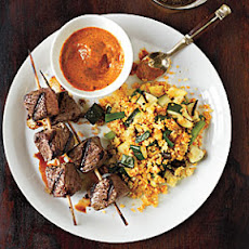 Sirloin Skewers with Grilled Vegetable Couscous and Fiery Pepper Sauce