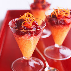 Cranberry-Vanilla Compote with Orange Ice