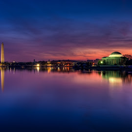 Beauty by Dan Girard - City,  Street & Park  Night ( water, reflection, dan_girard_photography, 2014, dan girard photography, cherry bloosoms, long exposure, washington dc, architecture, sunrise, tidal basin, landscape )