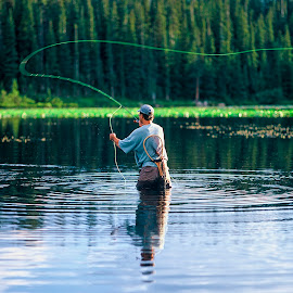 Fly Fishing -Red Rock Lake, Indian Peaks Wilderness, Rosevelt Na by Robert Castellino - Sports & Fitness Watersports ( fly casting, fishing, fisherman, trout fishing, fly fishing )