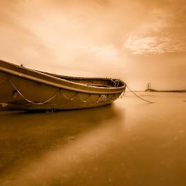 Orange Boat by Yossy Ryananta - Transportation Boats ( canon, shore, seascape, beach, boat, slow speed )