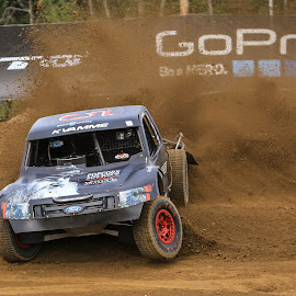 Hard Into the Corner by Kenton Knutson - Sports & Fitness Motorsports ( torc, truck, racing, offroad, ford, dirt )