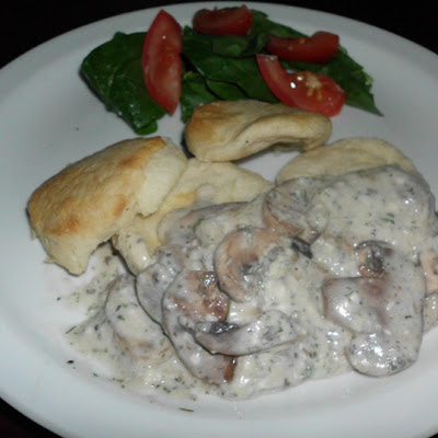 Creamy Garlic Mushroom on the Biscuit