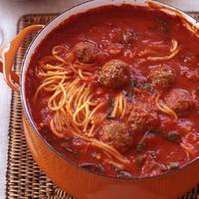 Mini Meatball and Broken Spaghetti Tomato Stoup