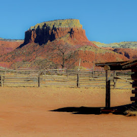 Ghost Ranch by William Thompson - Landscapes Deserts ( cabin, ranch, southwest usa, desert, corral, new mexico )