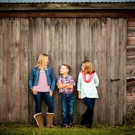 Siblings by Amber Langerud - People Family ( love, vintage, family, fun, siblings, old barnwood )