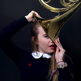 The Trumpet by Ami Johnson - Novices Only Portraits & People ( music, pose, girl, trumpet, portrait )