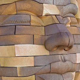 stone faced by Susan Consiglio Shurtleff - Artistic Objects Other Objects ( face, color, art, lips, stone, eyes )