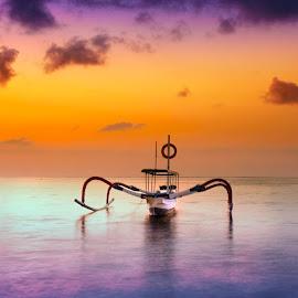 Sanur Beach Bali by Ade Irgha - Transportation Boats ( #clouds, #sky, #water, #sunrise, #boat )
