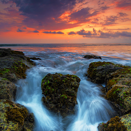 among the rock by Budi Astawa - Landscapes Waterscapes ( bali, sunset, jembrana, west bali, beach )