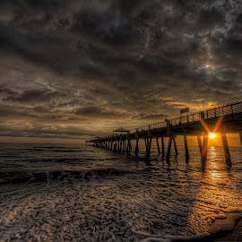 Ocean Sunrise by Mike Whittington - Buildings & Architecture Bridges & Suspended Structures ( ocean sunrise sun water clouds pier bridge sand )