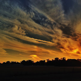 Streaked by Zeralda La Grange - Landscapes Cloud Formations ( #landscape, #orange, #blue, #clouds, #nature, #sunset )