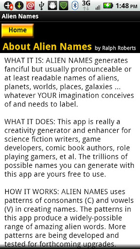 【免費生產應用App】Alien Names-APP點子