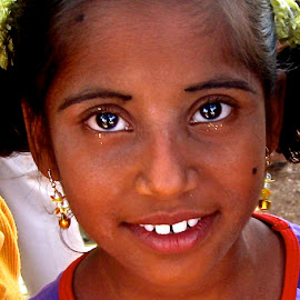 Girl on Independence Day, India by Elizabeth M - Babies & Children Child Portraits ( #girl #india #shine #independenceday #india #southernindia #eyes #portrait )