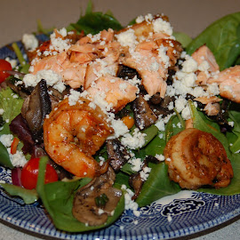 The Art of Food by Jim Greene - Food & Drink Plated Food ( salad, feta, shrimp, spinach, salmon,  )