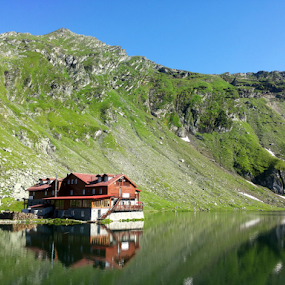by Monika Norvaisaite - Novices Only Landscapes ( mirror, mountains, summer, lake, house, landscape )