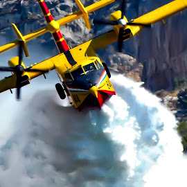 Firefighting mission by Darko Maretić - Transportation Airplanes ( superscooper, cl-415, firefighting, hrz, canadair,  )
