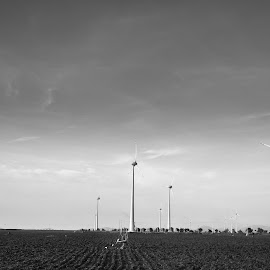 wind without trees by Krish Nam - Landscapes Travel ( black and white, india, travel, windmill, photography, object, artistic, jewelry )