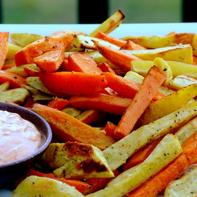 Medley of Roasted Sweet Potatoes & Yams with Smoky-Sweet Dipping Sauce
