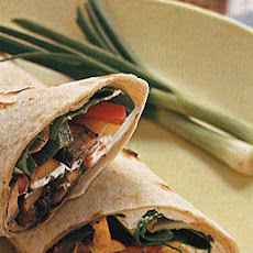 Mushroom Wraps with Spinach, Bell Peppers and Goat Cheese
