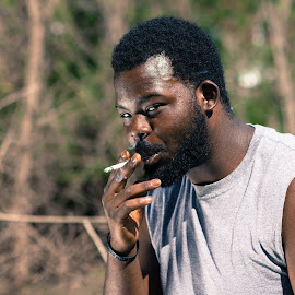 Smoking in the Woods by Matt Cronin - People Portraits of Men ( cigarette, smoking, woods, man )