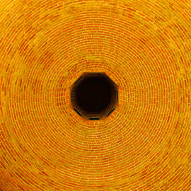 Journey to the centre of the earth by Mike O'Connor - Abstract Patterns ( circles, ceiling, dome, bricks, well, chimney, hole )