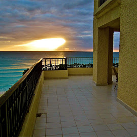 Hotel Balcony in Cancun by Tyrell Heaton - Buildings & Architecture Other Exteriors ( cancun, mexico, travel, sunrise, hotel, balcony )