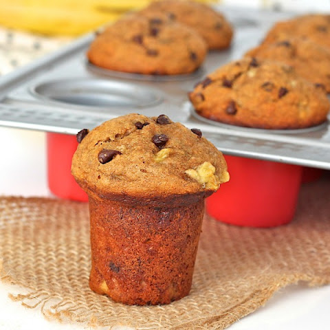 Whole Wheat Banana Peanut Butter Chocolate Chip Muffins