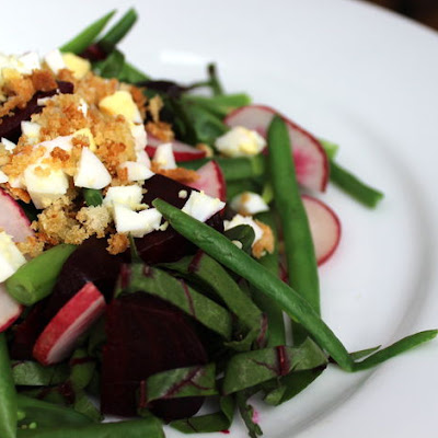 Beet Salad with Crispy Crumbs and Egg
