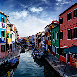 Burano IV. by Zsolt Zsigmond - City,  Street & Park  Historic Districts ( houses, colorful, street, burano, canal, italy, city )