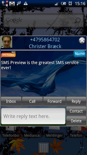 Numo SMS Preview