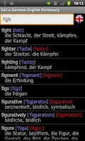 Screenshot of German - English offline dict.