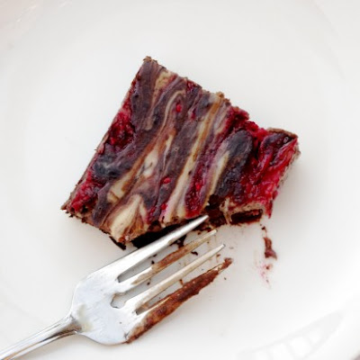 Raspberry Goat Cheese Swirl Brownies