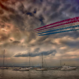 Over the yachts   by Kelly Murdoch - Transportation Other ( water, red arrows, uk, boats, sea, ztam, yachts, flying, england, sky, sailing, isle of wight, raf )