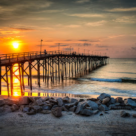 Good Morning Carolina by Dale Foshe - Landscapes Waterscapes ( carolina, pier, ocean, fishing, beach, sunrise, rocks )