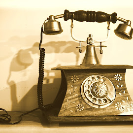 the 'hello'-phone! by Sujoy Mukherjee - Artistic Objects Antiques ( landline, wooden, ancient, dial, telephone )